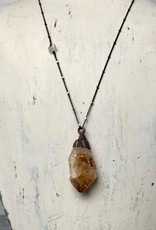 "Citrine Crystal on 24"" Sterling Silver Chain"
