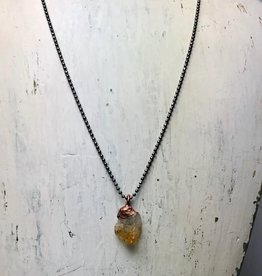 "Raw Citrine Electroformed Pendant on 18"" Oxidized Sterling Silver Necklace"