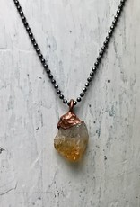 """Raw Citrine Electroformed Pendant on 18"""" Oxidized Sterling Silver Necklace"""