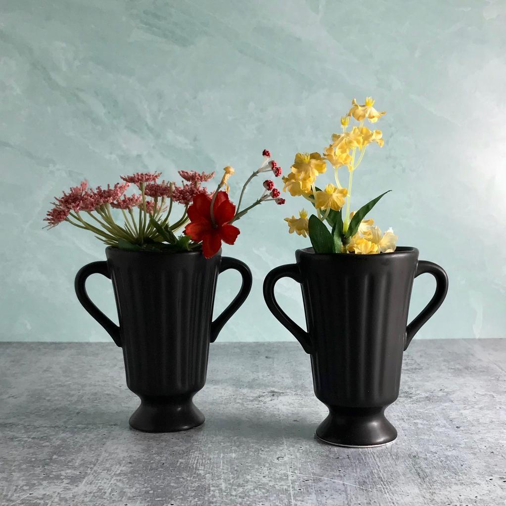 "5""H Black Ceramic Vase"