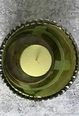 "3"" Round x 2-3/4""H Green Glass Tealight Holder"