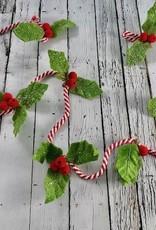 """72""""L Felt Holly Leaf Garland w/ Red Berries"""