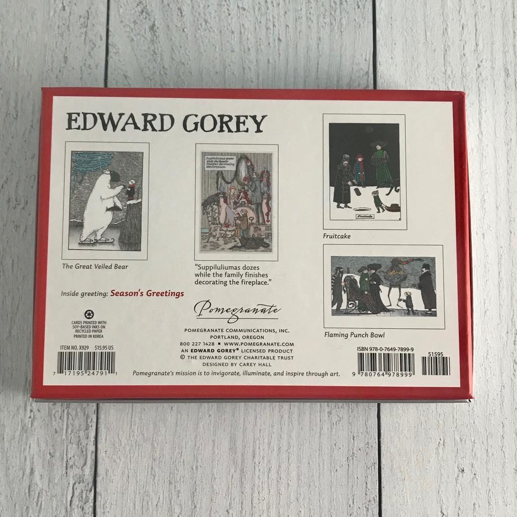 Edward Gorey Boxed Holiday Cards: Assorted 20 Cards & Envelopes, 5ea of 4 designs