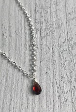 Handmade Silver Necklace with Garnet Briolette