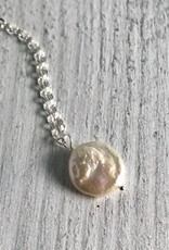 Handmade Silver Necklace with Coin Pearl