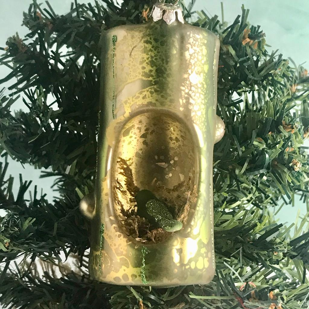 "4-3/4""H Glass Trunk w/ Bird Ornament"