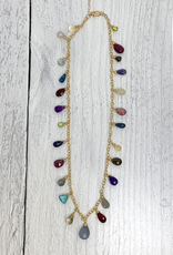 Handmade 14k Goldfill Chain Necklace with jewel tone briolettes