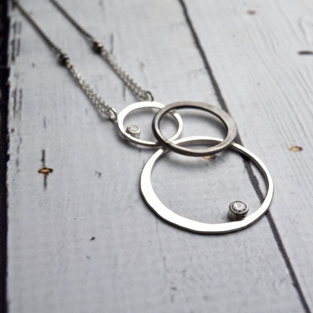 Handmade Necklace with Three Sterling Silver Loops with set CZ on chain