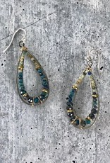 Handmade chyrsocolla, turquoise, beaded brass and oxidized sterling silver channel drop earrings