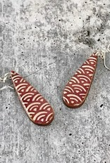 Handmade Rose Wave Resin & Wood Earrings, SS wiresSustainable Walnut Wood, eco friendly colored resin, non-toxic wax.