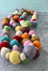 """42""""L Wool Felt Pom Pom Garland Multi Color"""