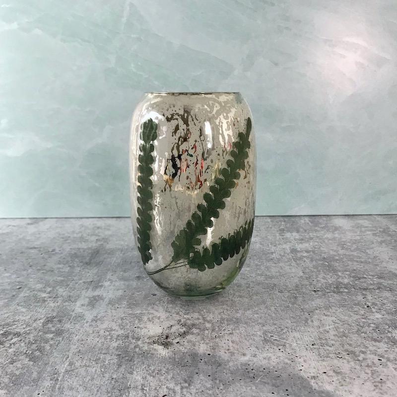 """3-3/4"""" Round x 6""""H Etched Mercury Glass Votive Holder w/  Mint Design"""