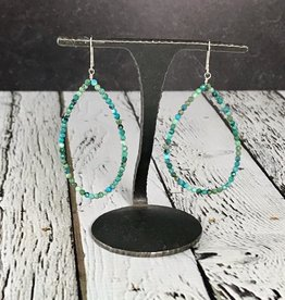 Large Teardrop Earrings made of Tiny Faceted Turquoise