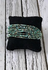 "Multi-Strand Tiny Faceted Turquoise Bead Bracelet with Sterling Silver End Caps and Clasp, 7.5"" +1"" Ext."