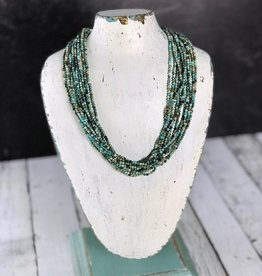 "Multi-Strand Tiny Faceted Turquoise Bead Necklace with Sterling Silver End Caps and Clasp, 18"" +2"" Ext."