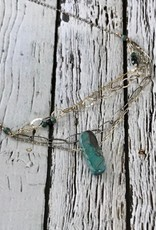 """Handmade chrysocolla nugget, sterling silver multi chain 16""""-18"""" necklace."""