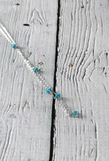 Handmade Sterling Silver Necklace with turquoise disc across, shiny