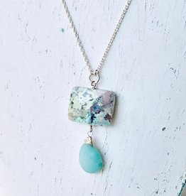 Handmade Silver Necklace with amazonite briolette, chrysocolla square