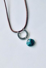 Handmade Silver Necklace with brown leather, hammered shiny u, sideways flat turquoise