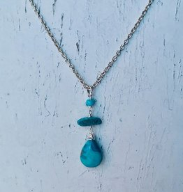 Handmade Silver Necklace with turquoise briolette, 2 attached