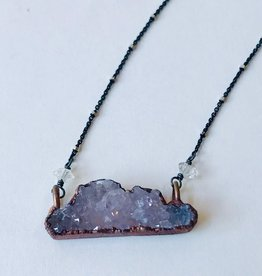 "Large Cloud Shape Electroformed Druzy Pendant on 24"" Oxidized Silver Satellite Chain Necklace"