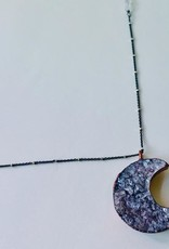 """Large Crescent Moon Shape Electroformed Druzy Pendant on 24"""" Oxidized Silver Satellite Chain Necklace"""