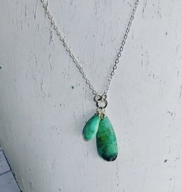 Handmade Silver Necklace with 2 chrysoprase on ring