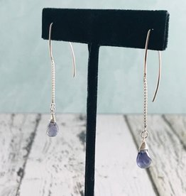 Handmade Silver Earrings with iolite briolette, marquis chain