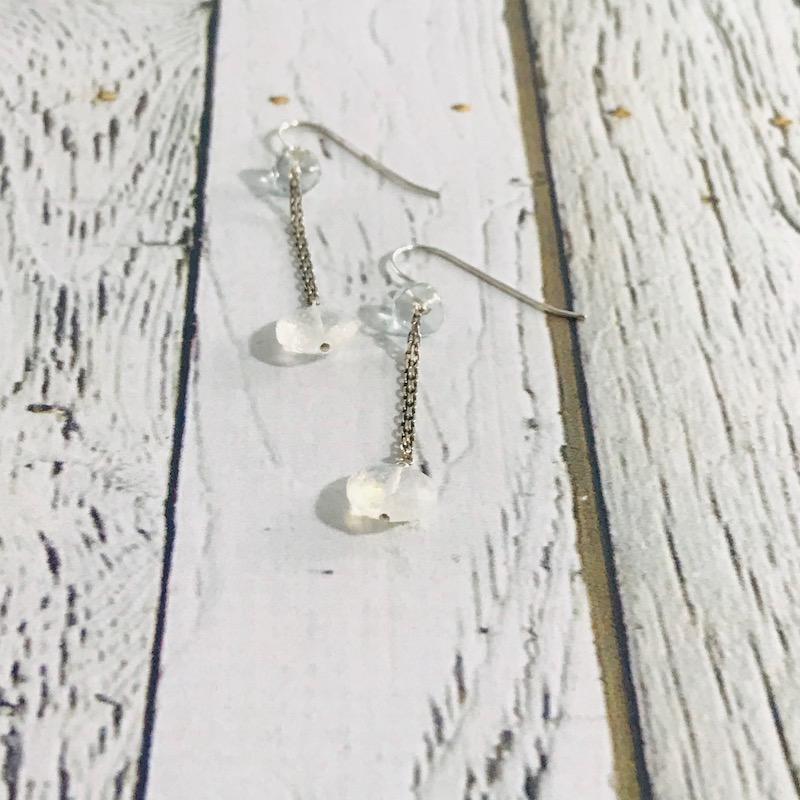 Handmade Silver Earrings with rainbow moonstone coin on double tiny chain, flat blue topaz