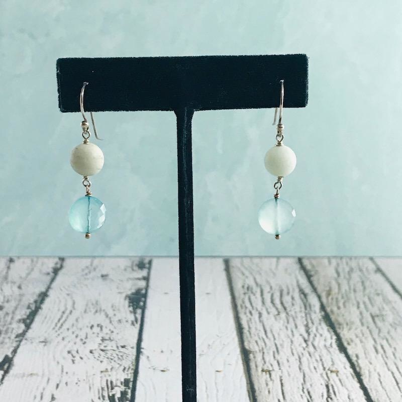 Handmade Silver Earrings with peruvian chalcedony coin, large matte amazonite