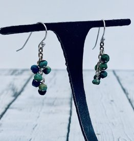 Handmade Silver Earrings with chrysocolla dangle