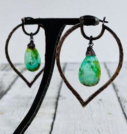 Handmade Silver Earrings with hammered oxidized marquise earwire, large light chrysoprase
