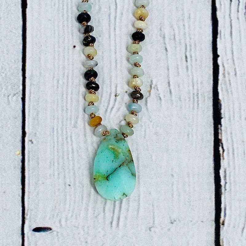 Handmade Silver Necklace with faceted amazonite, light chrysoprase knotted on natural silk
