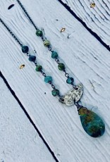 Handmade Silver Necklace with chrysocolla briolette, attached chrysocolla, hammered oxidized 1/2 circle
