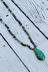 Handmade Silver Necklace with multi jasper, dark chrysoprase briolette knotted on natural silk
