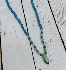 Handmade Silver Necklace with chrysocolla briolette, blue jade, labradorite knotted on grey silk