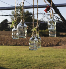 "4"" Glass Hanging Bottle with Jute"