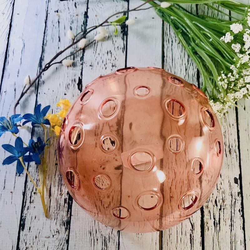 "7"" Round x 5""H Persimmon  Glass Flower Frog Vase"