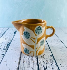 "4""L x 3-1/4""W x 4""H Hand Painted Mustard Stoneware Creamer with Flower"