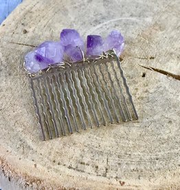 Hair Comb wrapped with Amethyst Chunks