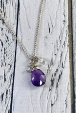 Handmade Silver Necklace with Amethyst, Moonstone, moon charm