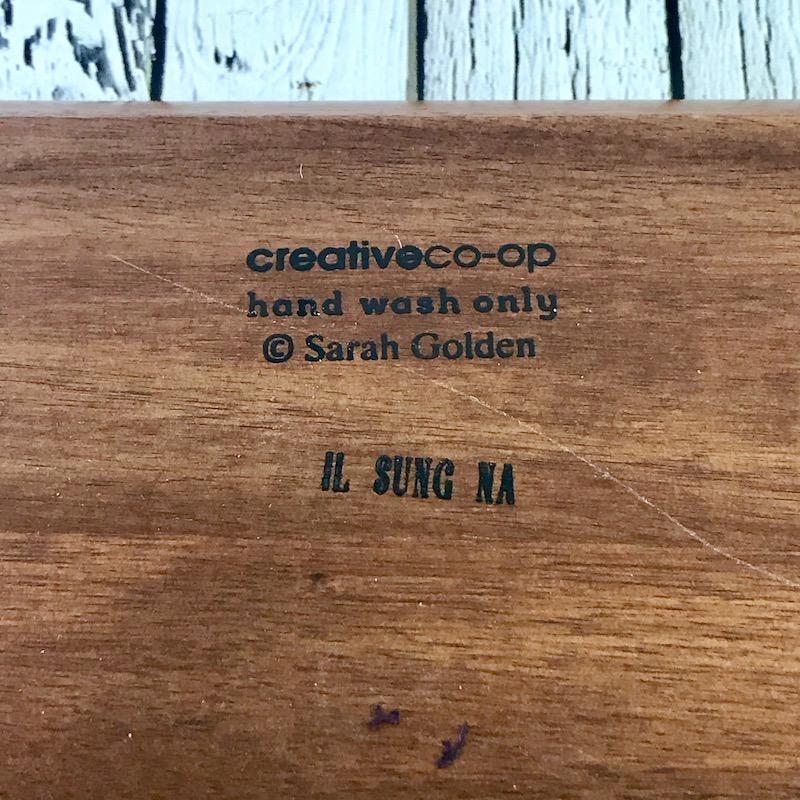 "10"" Square Enameled Acacia Wood Tray"