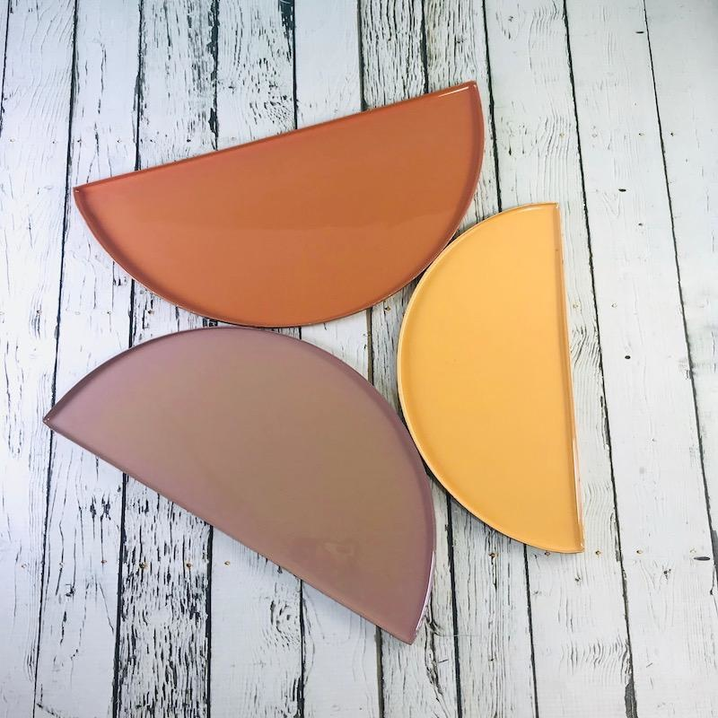 """12""""L, 11""""L, and 9""""L Multi Color Enameled Metal Tray"""