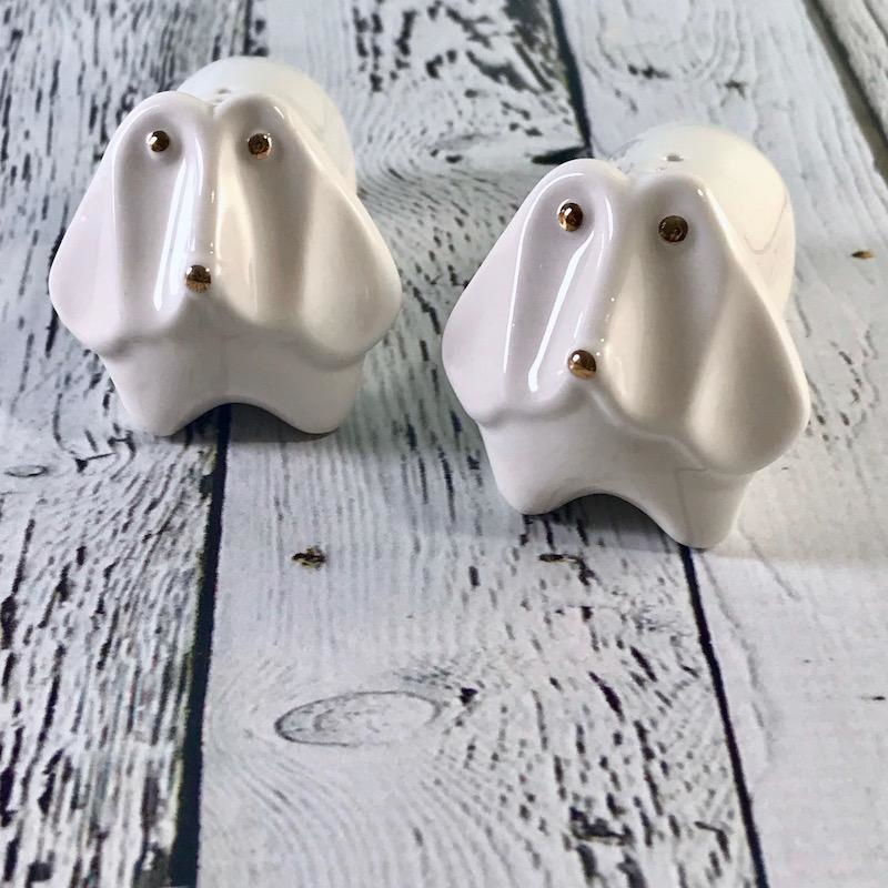 "3""L Stoneware Dog Salt and Pepper Shakers"
