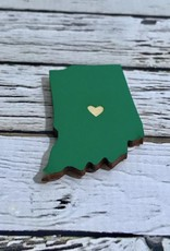 Green Indiana Heart Magnet