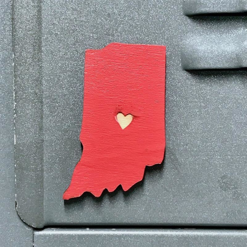 Bright Red Indiana Heart Magnet