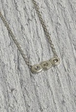 """Handmade Then, Now and Forever Small Bar with 3 Crystal Necklace, SS, 16"""" w/2"""" ext"""
