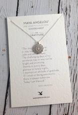 Handmade Sterling Silver Gratitude Medallion Necklace (Maya Angelou series)
