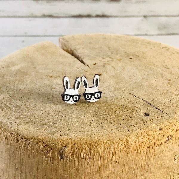 Handmade Nerd Bunny Lasercut Wood Earrings on Sterling Silver Posts