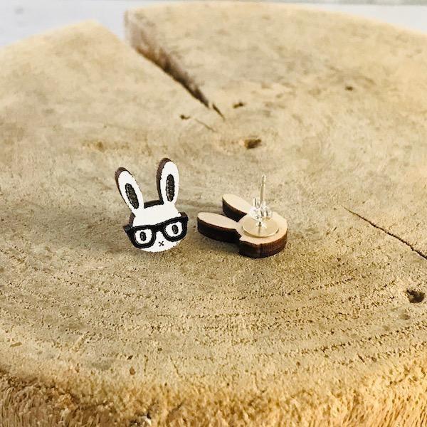 Handmade Nerd Bunny Lasercut Wood Earrings on Sterling Silver Posts